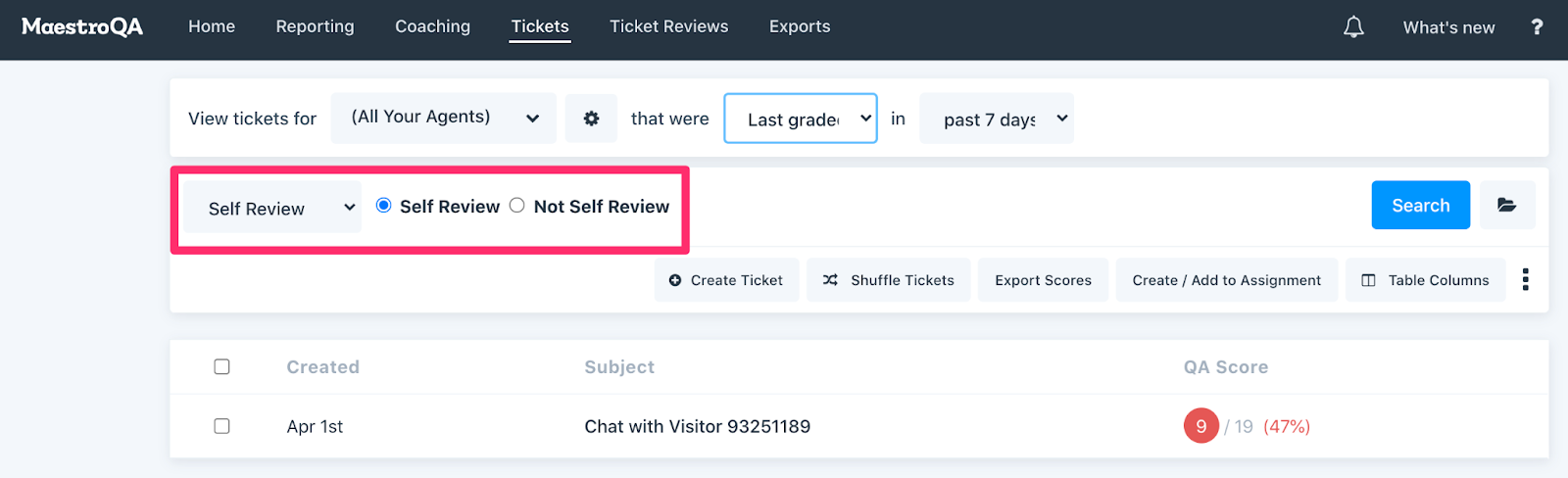 viewing self review scores